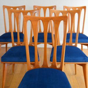 6 chaises Gaston Poisson Art Déco 1950 vintage 6