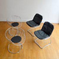 Quatre chaises / Fauteuils Design par Gastone Rinaldi 1970s