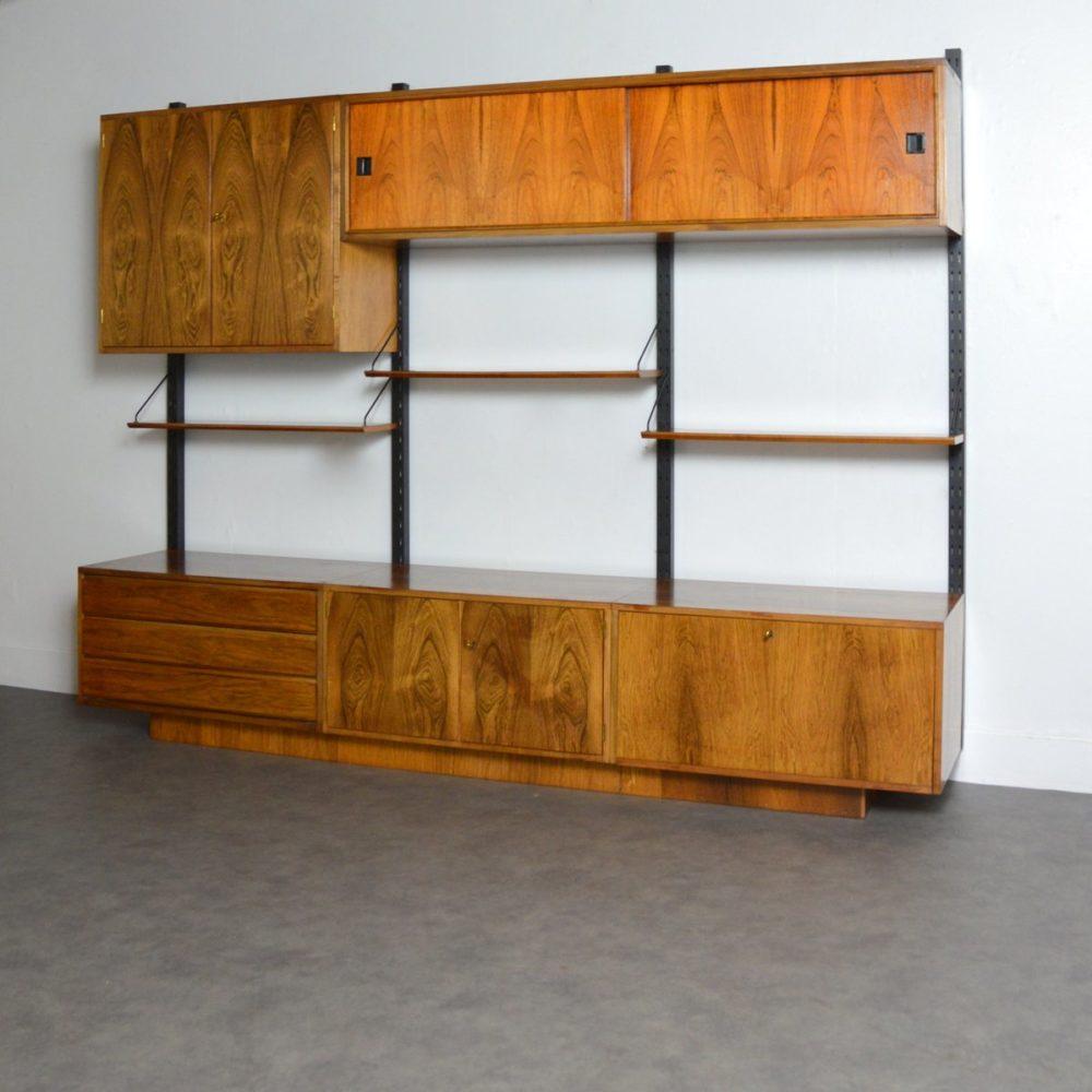 Système d'étagères / Bibliothèque modulable palissandre 1960s