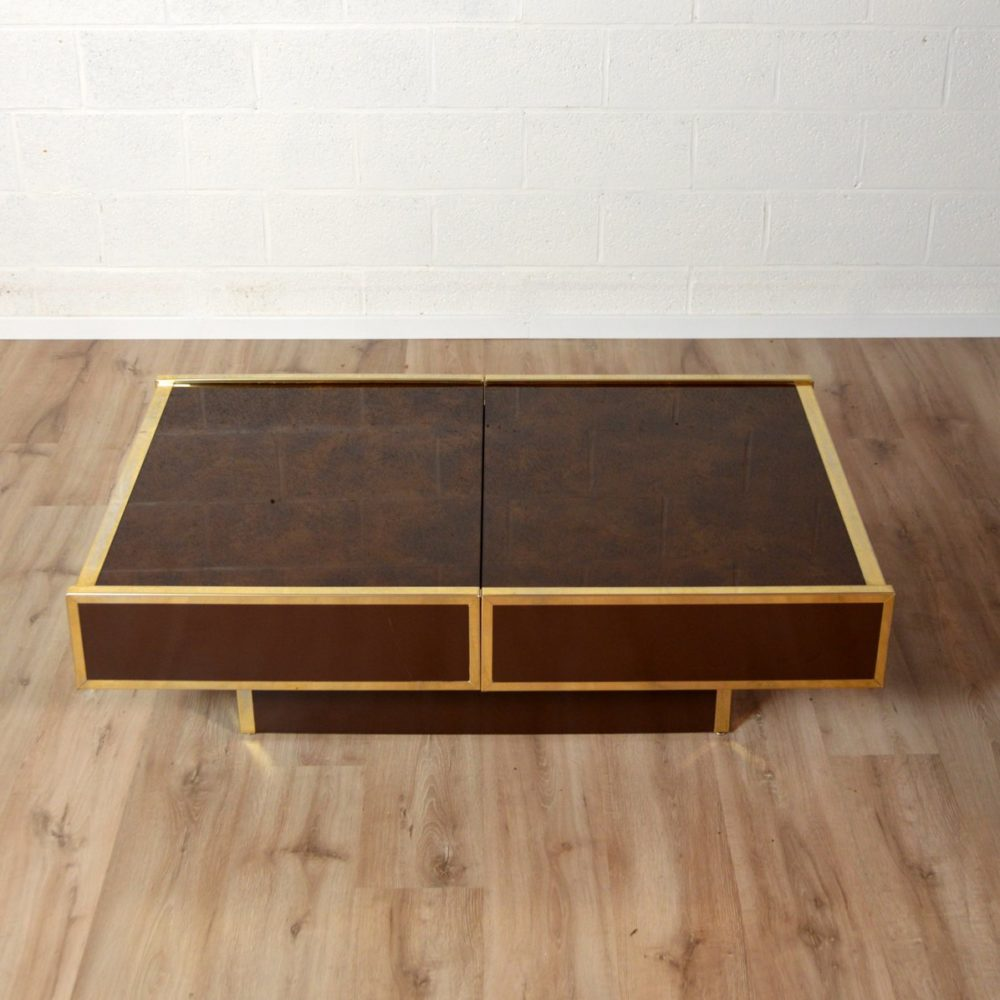 Table basse / Table Bar Design par Willy Rizzo 1970s