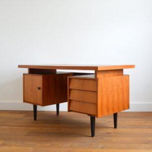 Grand bureau scandinave 1960 teck vintage 40