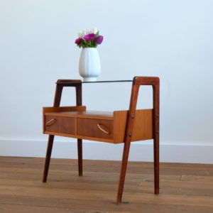 Table d'appoint : console scnadinave 1960 teck vintage 34