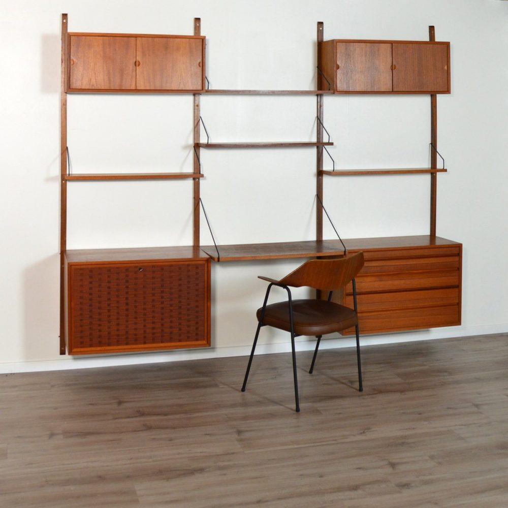 Bibliothèque / Bureau modulable Royal System par Poul Cadovius Danemark 1960s