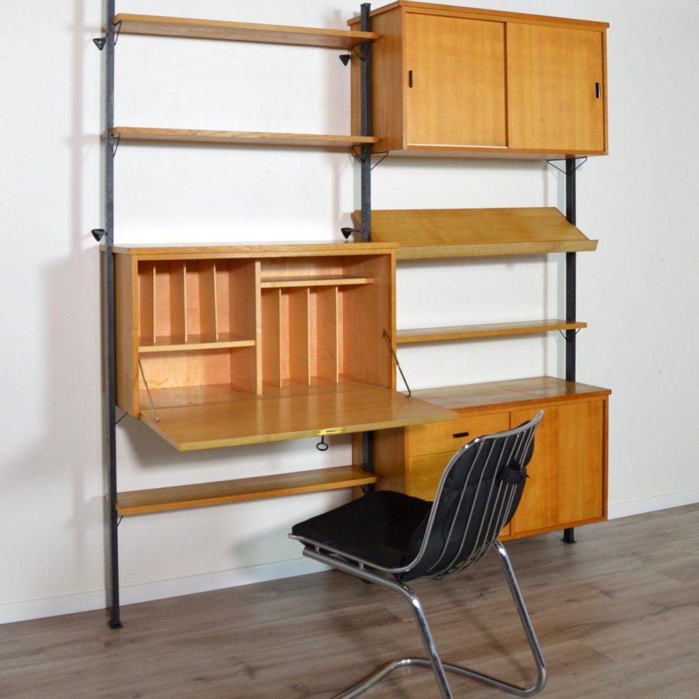 Bibliothèque / Secrétaire / Bar Suédoise modulable par Olof Pira 1960s