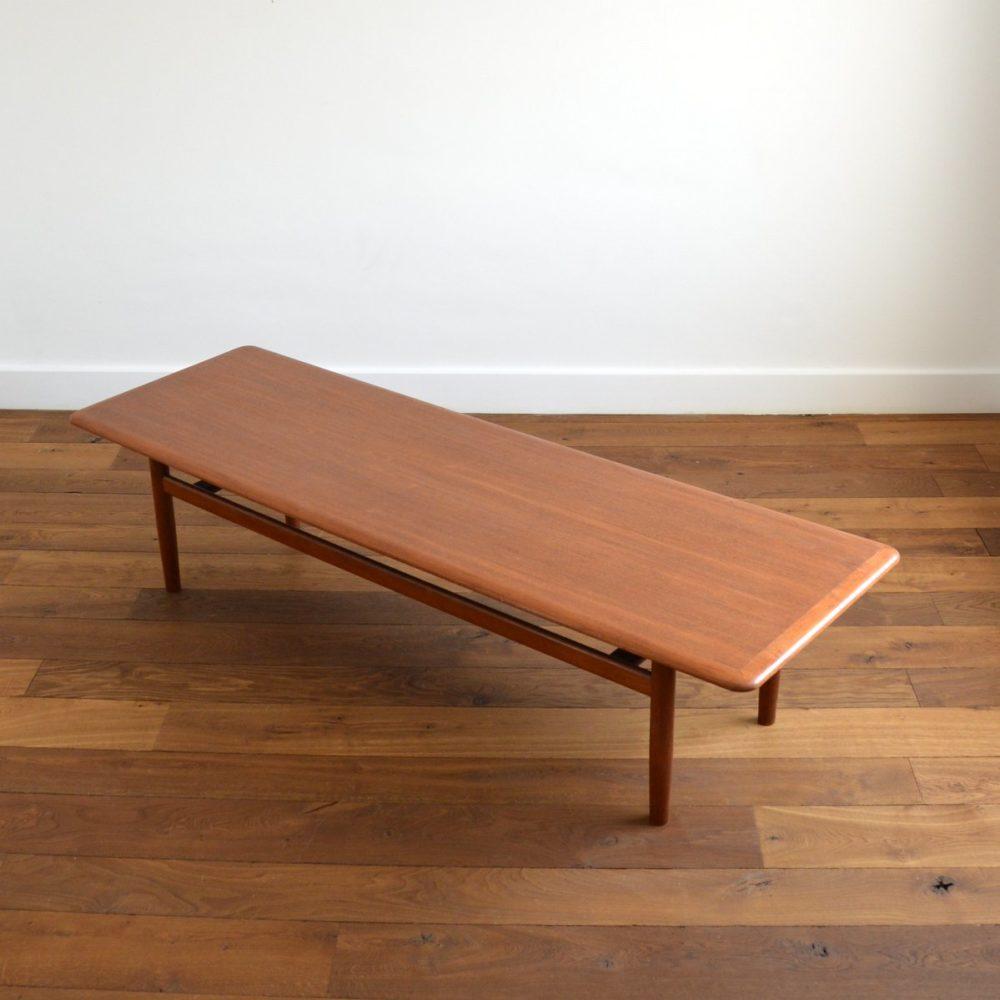 Grande table basse 187 cm – Scandinave teck, par Jason Møbler – Danemark vintage 1960s