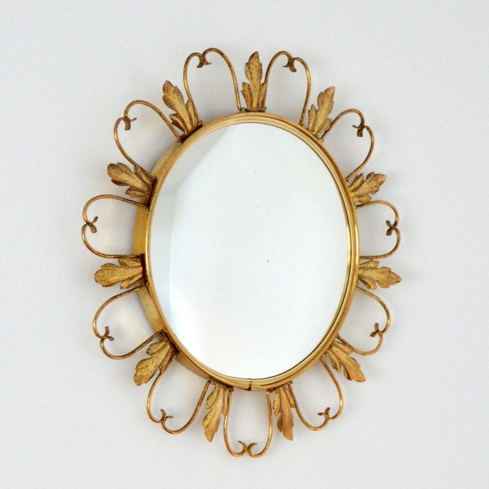 Miroir oeil de sorcière bombé vintage 1950s