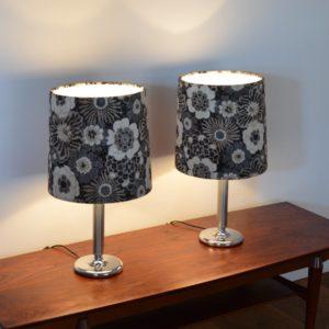 Paire de lampe fleuris années 70 vintage 10