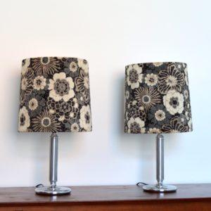 paire de lampes fleuries 1970 vintage B