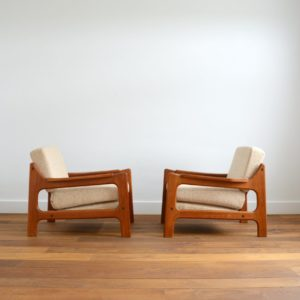 Paire de fauteuils Danois Scandinave teck 1960 vintage 2