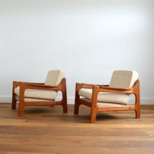 Paire de fauteuils Danois Scandinave teck 1960 vintage 30