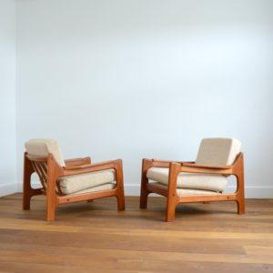 Paire de fauteuils Danois Scandinave teck 1960 vintage 8