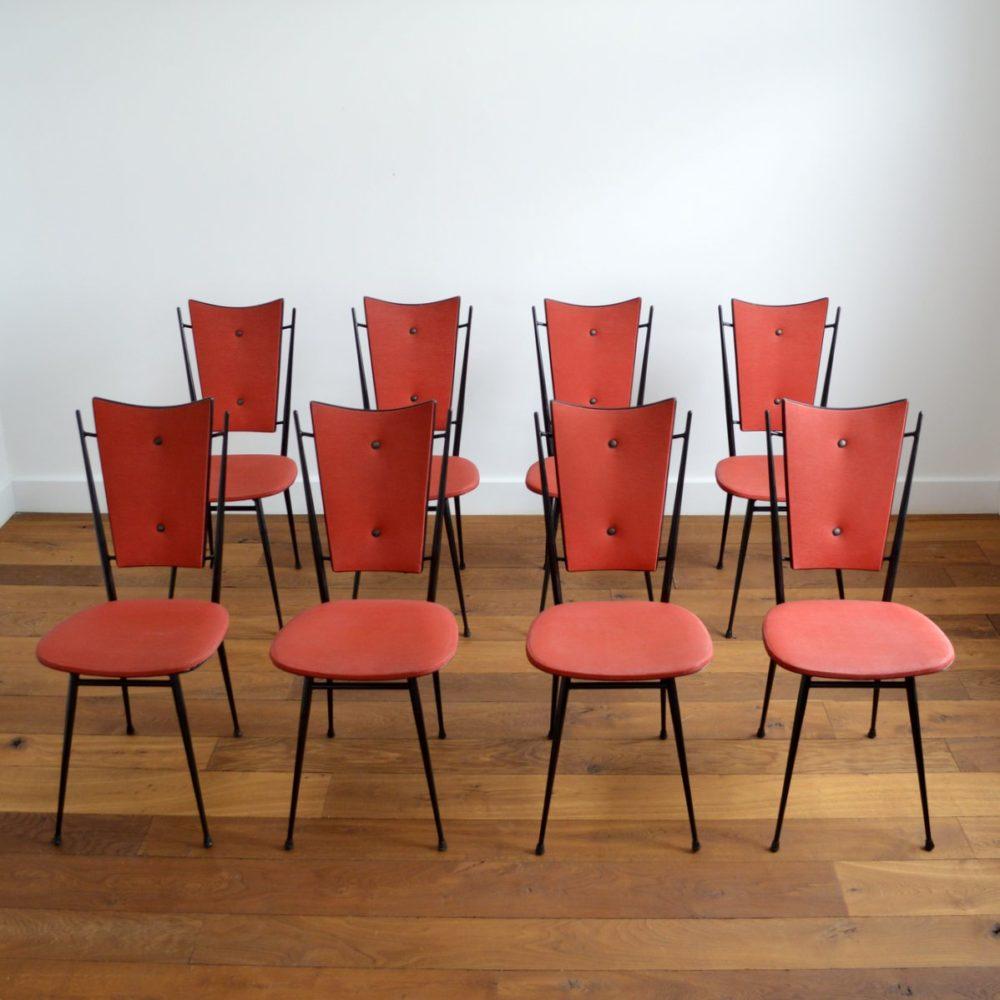 Suite de 8 chaises vintage 1950s