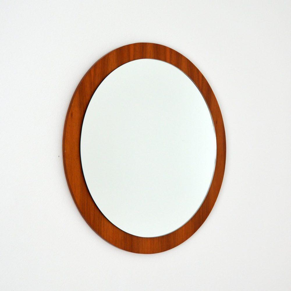 Grand miroir rond scandinave 1960s