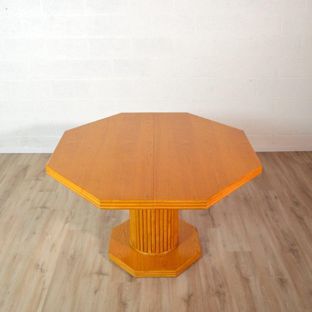 Table à repas octogonale avec rallonge Design vintage