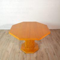 Table à manger octogonale vintage Art Déco pied central 2