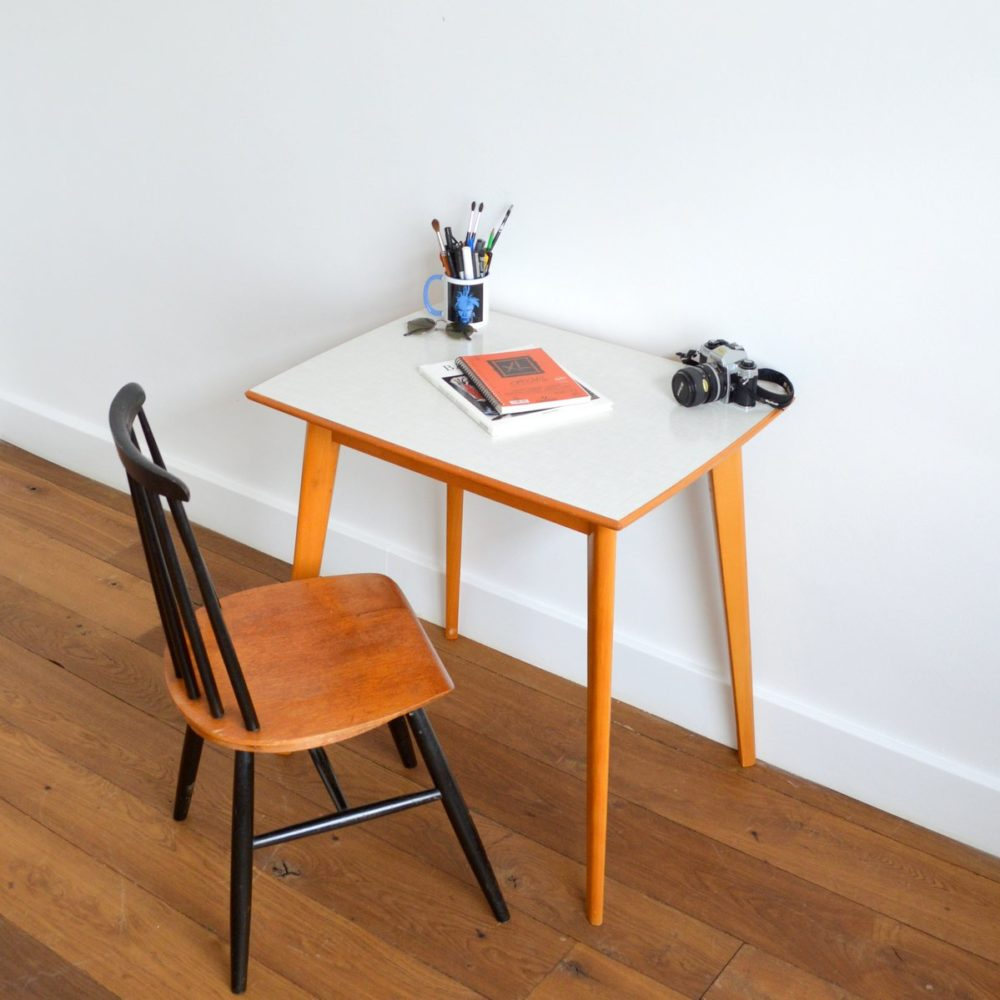 Table / Bureau formica et bois vintage