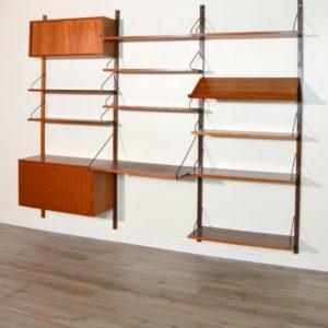 Royal Système d'étagères modulable : wall units Poul Cadovius teck 20