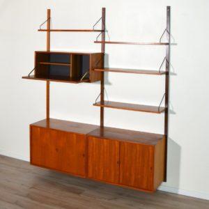 Royal Système d'étagères modulable : wall units Poul Cadovius teck bg