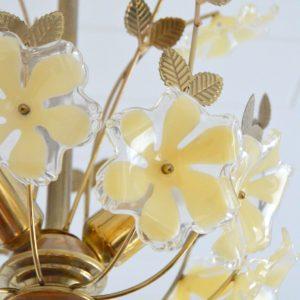 Lustre fleurs laiton 1960 vintage 23