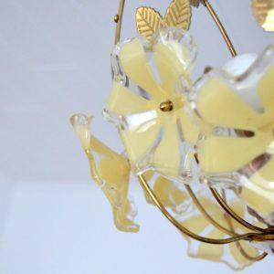 Lustre fleurs laiton 1960 vintage 42