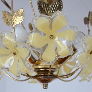 Lustre fleurs laiton 1960 vintage 44