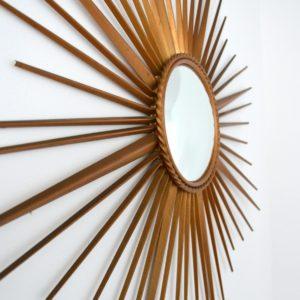 Grand miroir soleil : bombé : oeil de sorcière Chaty Vallauris années 50 : 60 vintage 30