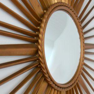 Grand miroir soleil : bombé : oeil de sorcière Chaty Vallauris années 50 : 60 vintage 32