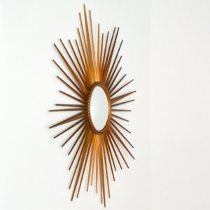 Grand miroir soleil : bombé : oeil de sorcière Chaty Vallauris années 50 : 60 vintage 4