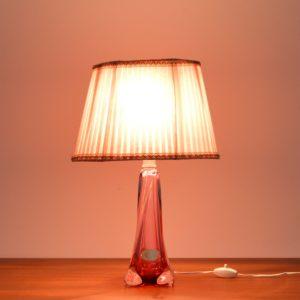 Lampe de table en cristal Val St. Lambert 1960 vintage 34