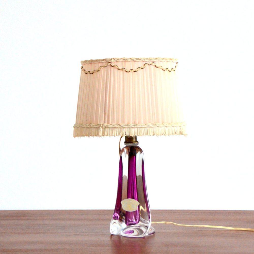 Superbe Lampe de table en cristal Val St-Lambert 1960 Belgique