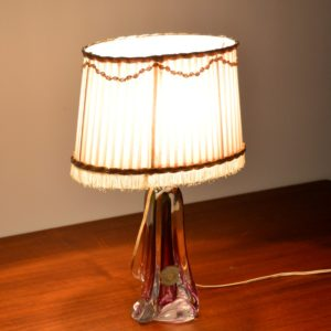 Lampe de table en cristal Val St. Lambert 1960 vintage x