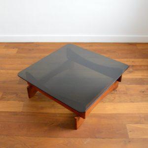 Table basse scandinave palissandre et verre 1970 vintage 2