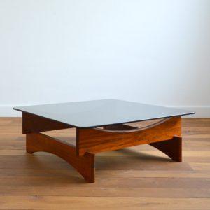 Table basse scandinave palissandre et verre 1970 vintage 28