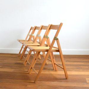 4 chaises pliantes bois et cannage 1960 vintage 2