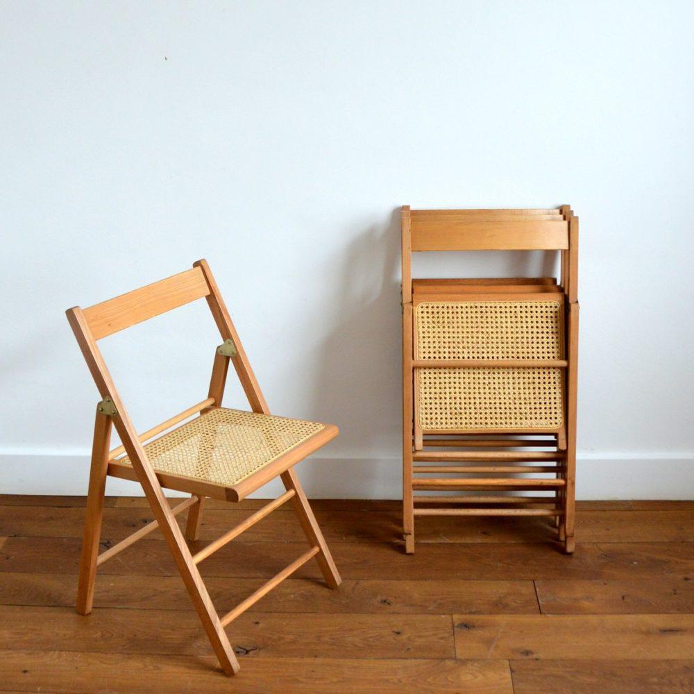 Chaise pliantes bois et cannage 1960s ( 1 / 4 )