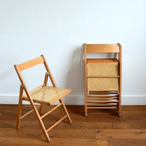 4 chaises pliantes bois et cannage 1960 vintage 38