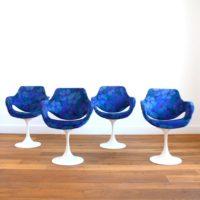 Suite de 4 chaises / Fauteuils pieds tulipe design vintage 1960s