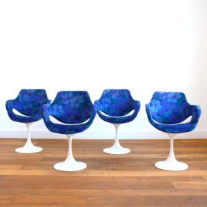 4 fauteuils design années 60 : 70 pied tulipe vintage d