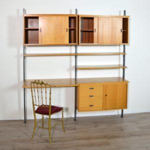 Bibliothèque modulable Suédoise : Bureau Olof Pira scandinave vintage 12