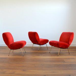 3 fauteuils Pelfran moumoute 1950 vintage 3