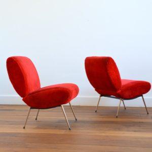 3 fauteuils Pelfran moumoute 1950 vintage 6