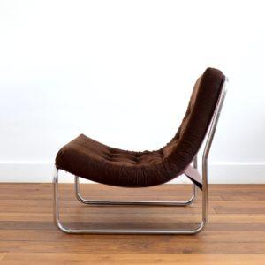 Chauffeuse : Fauteuil velours côtelé design 1970 vintage 16