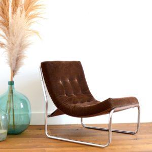 Chauffeuse : Fauteuil velours côtelé design 1970 vintage 8