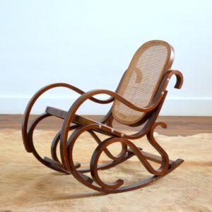 Rocking Chair Enfant Thonet bois et cannage vintage 16