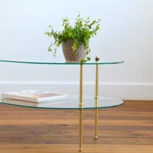 Table basse double plateau forme haricot vintage 10