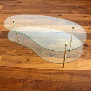 Table basse double plateau forme haricot vintage 18