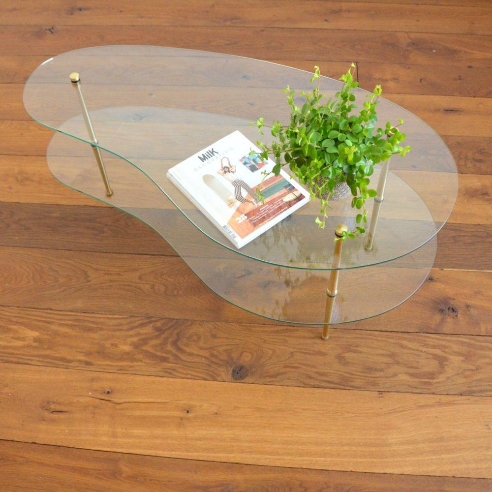 Table basse double plateaux forme haricot vintage 1950s