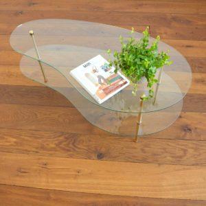 Table basse double plateau forme haricot vintage 3