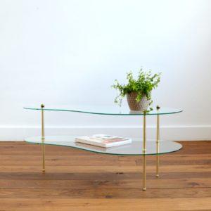 Table basse double plateau forme haricot vintage 5