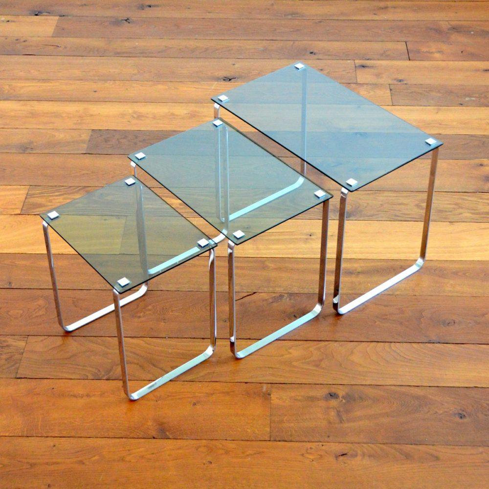 Suite de 3 tables gigognes vintage design 1970s